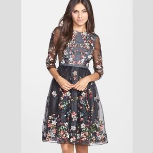 Needle & Thread Floral Sequin Silk Fit/Flare Dress